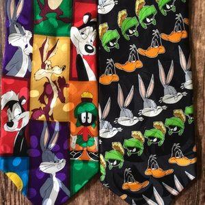 Two 100% Silk Looney Tunes Ties